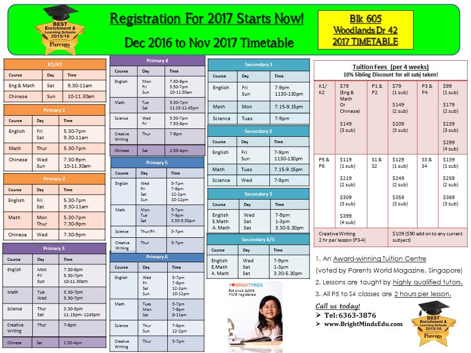 Blk 605 Woodlands Dr 42 2017 Timetable