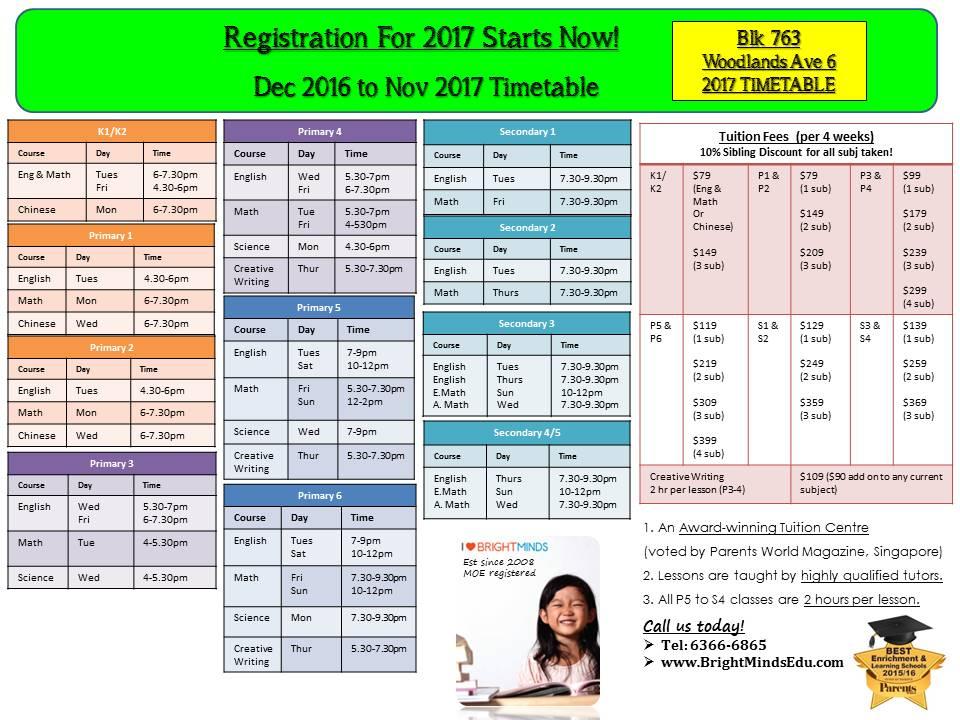 Blk 763 Woodlands Ave 6 2017 Timetable