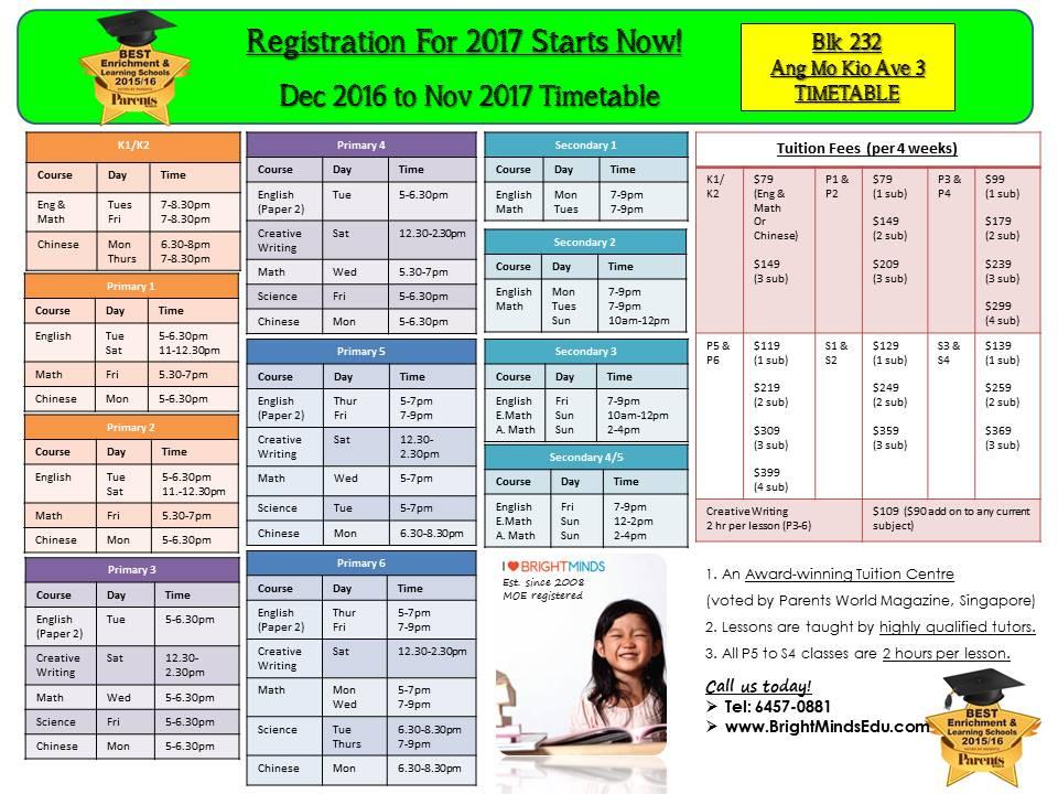 Blk 232 Ang Mo Kio Ave 3 #01-1057 S560232 Timetable